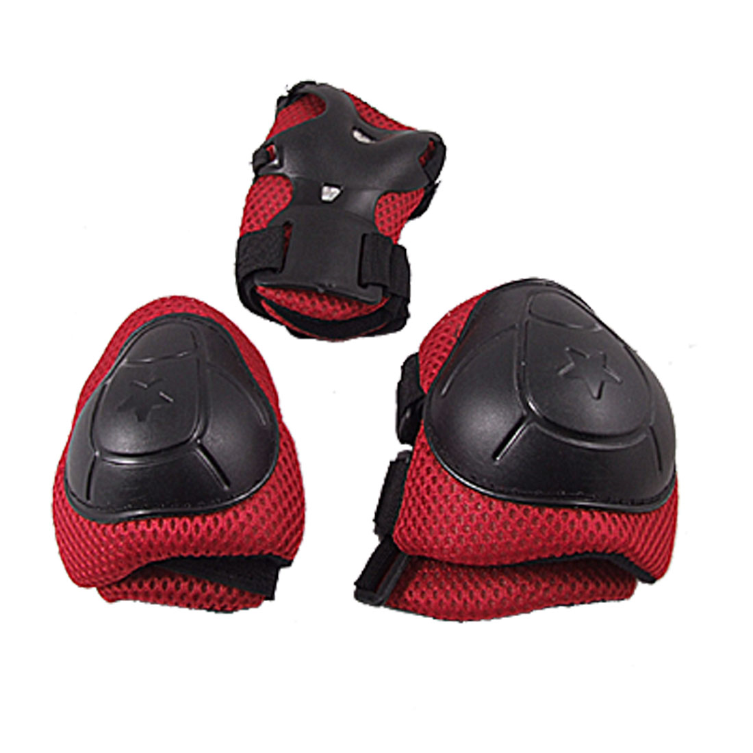 Skating Gear Knee Elbow Wrist Pads Protector Red Black