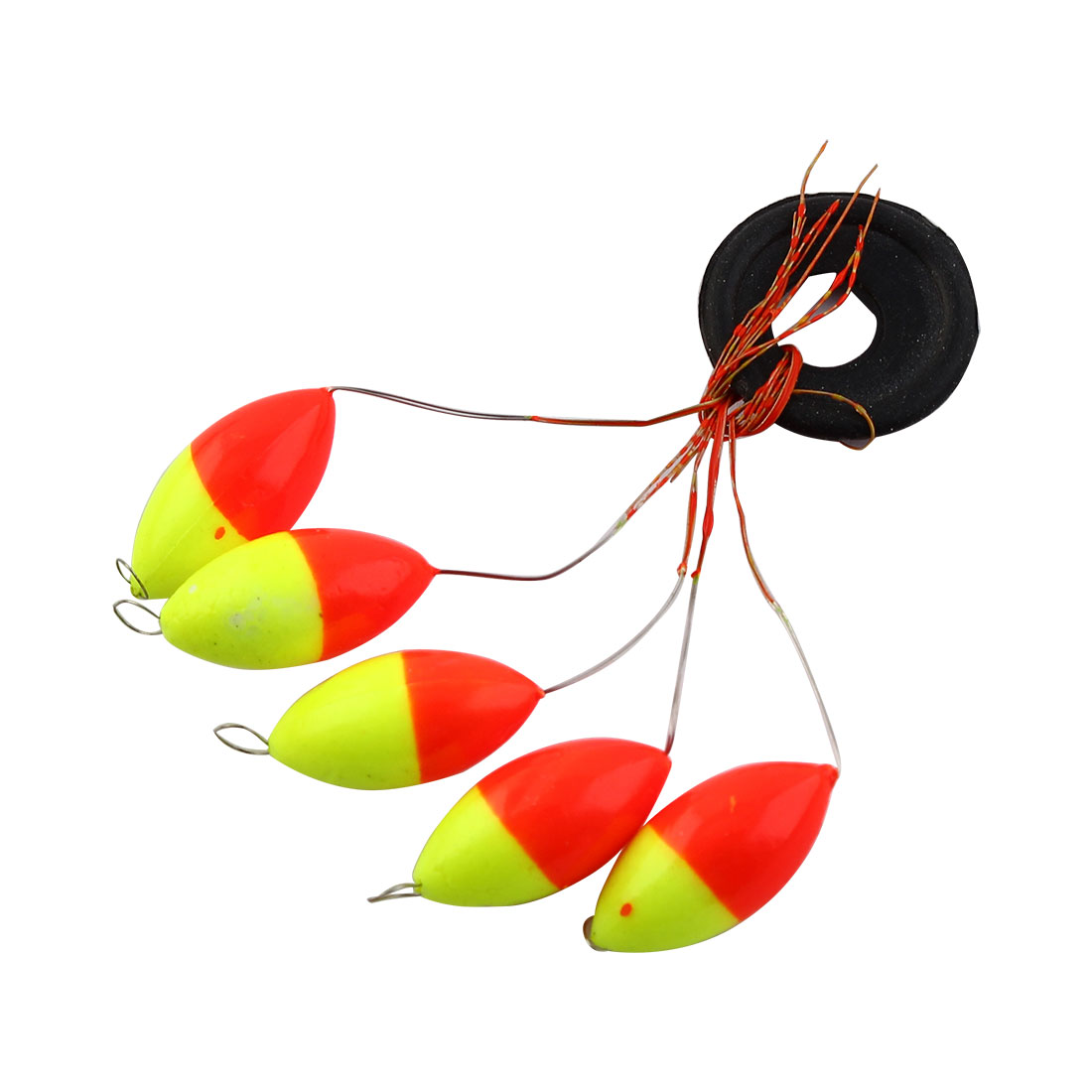 Fishing Tackle 6 in 1 Yellow Red Plastic Oval Bobber Stopper