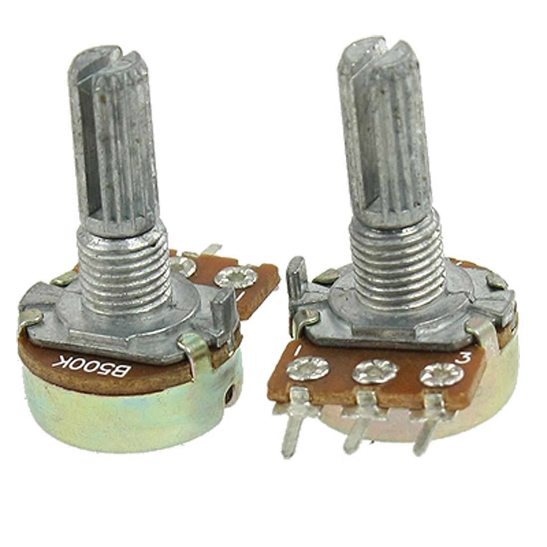 5 Pcs 500K ohm B500K Top Adjustment Single Linear Potentiometers