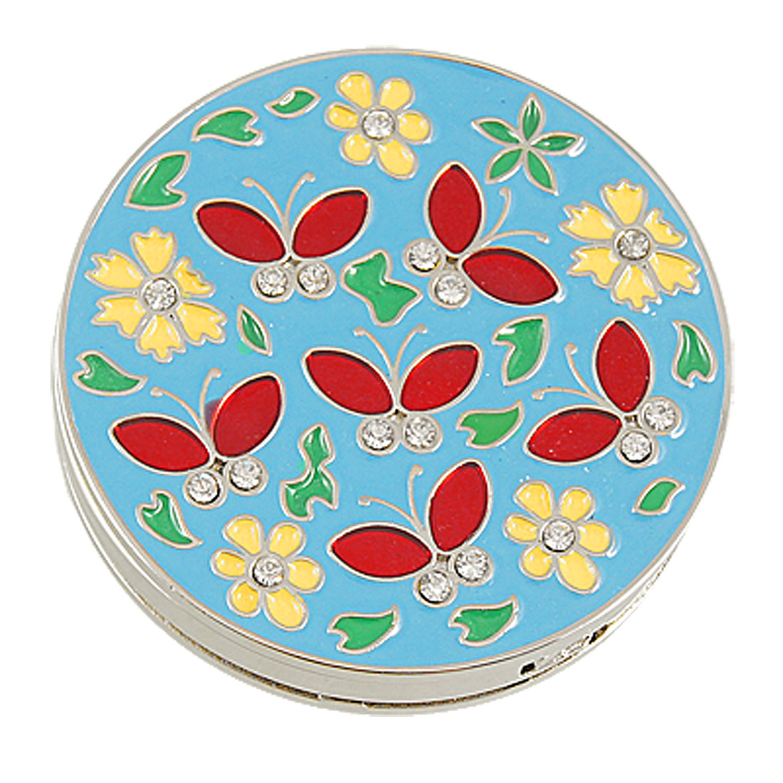 Butterfly Flower Pattern Skyblue Round Folding Handbag Hook Purse Hanger