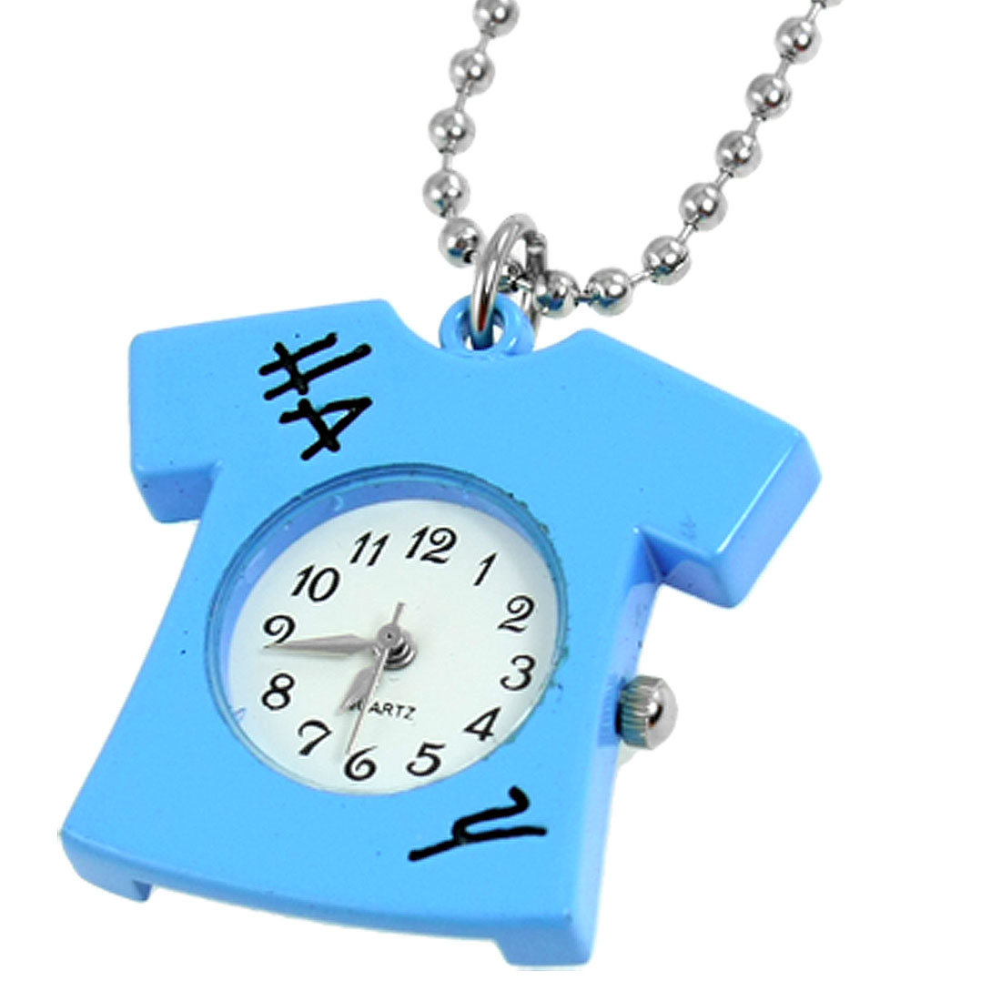Lady Sky Blue Shirt Shape Pendant White Round Dial Case Necklace Watch