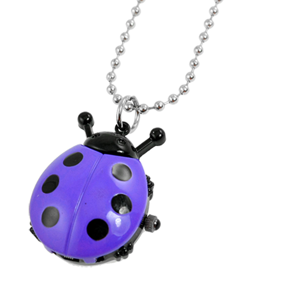 Lady Black Purple Ladybug Pendant Silver Tone Beaded Chain Necklace Watch