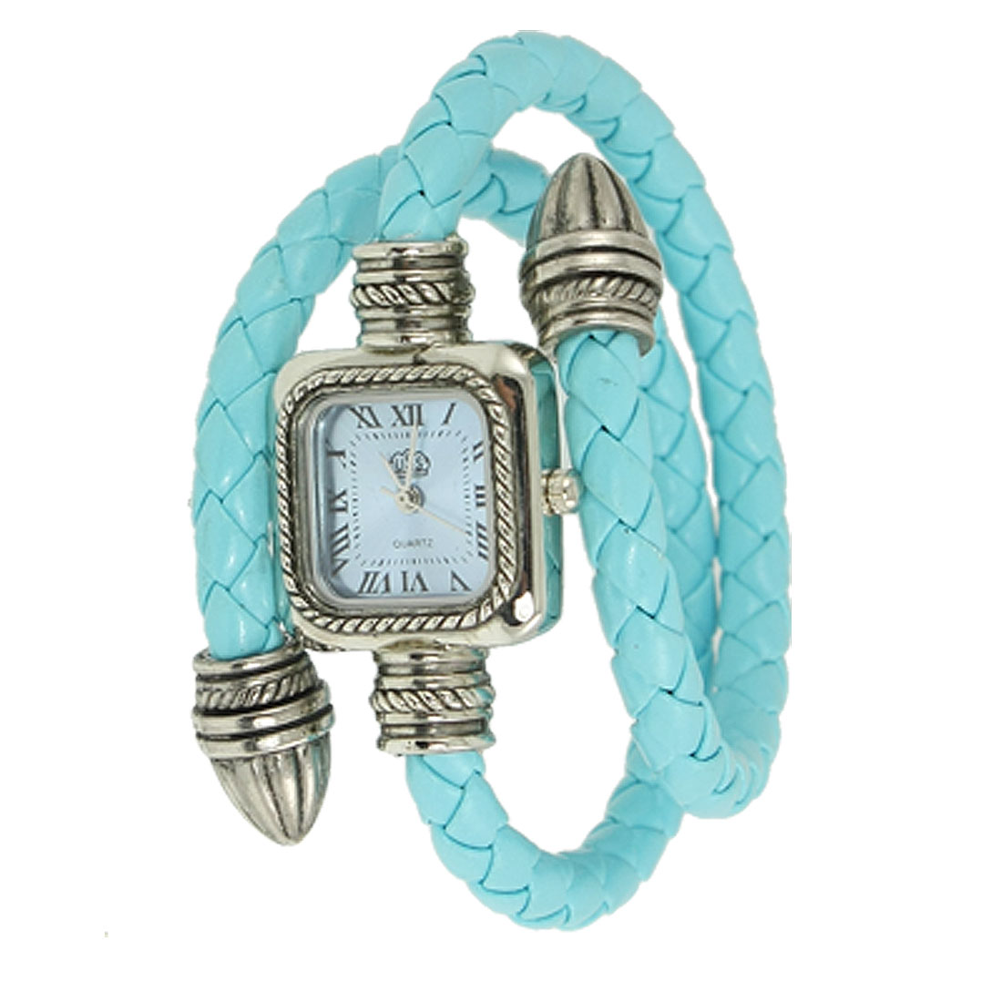 Lady Blue Faux Leather Braid Coated Band Bracelet Quartz Wrist Watch
