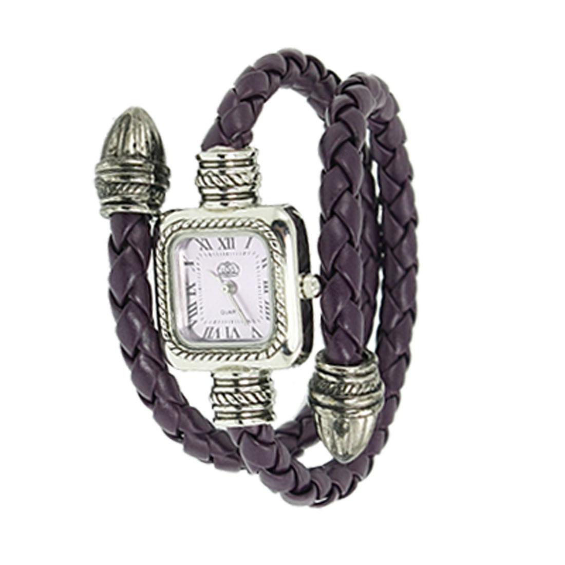 Lady Purple Faux Leather Braid Coated Wristband Bracelet Watch