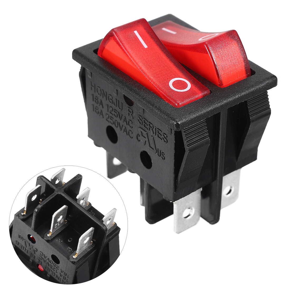 AC 16A/250V Double Red Light 6 Pin SPST ON/OFF Rocker Switch