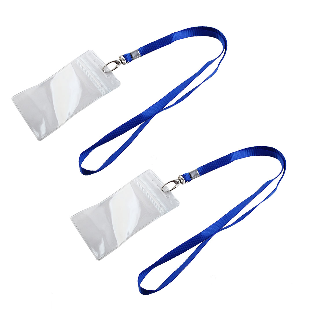 2 Pcs Clear ID Badge Card Vertical Holder w Blue Neck Strap