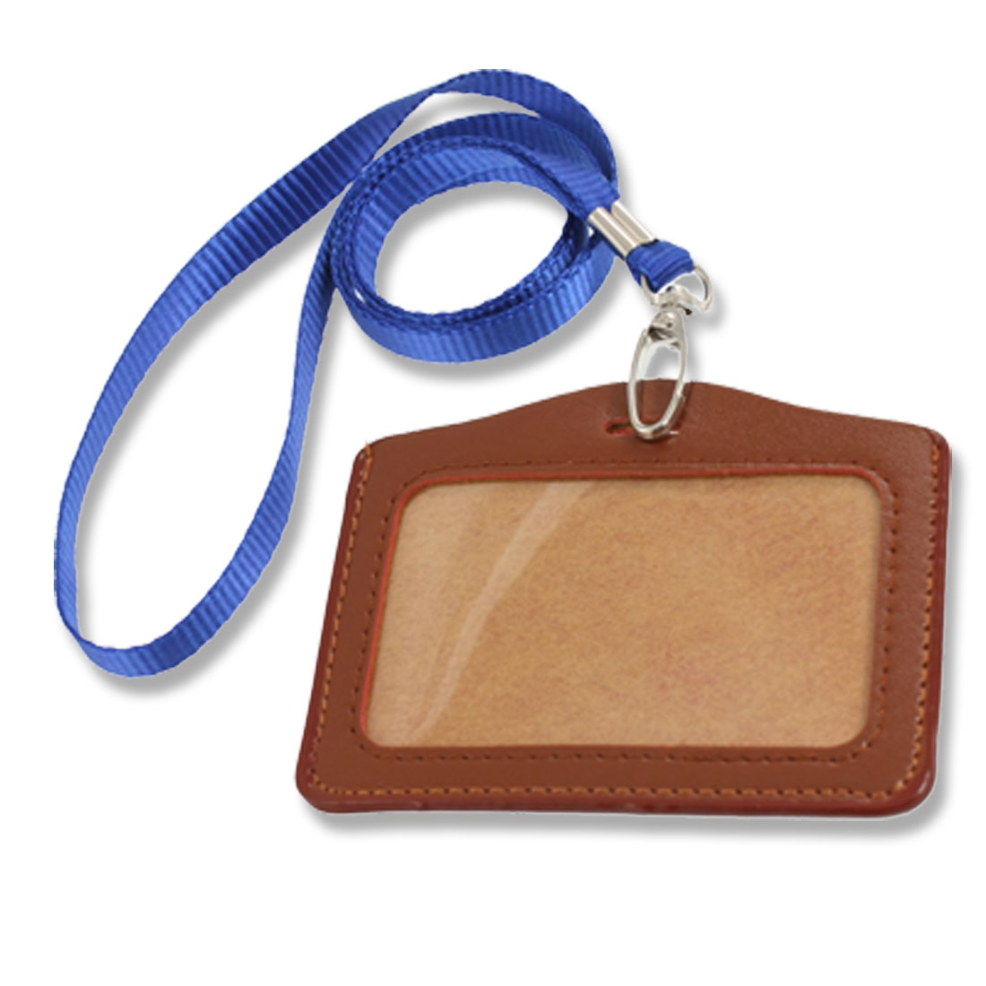 Faux Leather ID Badge Card Horizontal Holder Brown w Neck Strap 2 Pcs