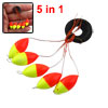 Fishing Tackle 5 in 1 Yellow Red Plastic Oval Bobber Stopper