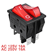 AC 15A/250V 20A/125V Double Red Light 6 Pin SPST ON/OFF 2 Way Boat Rocker Switch