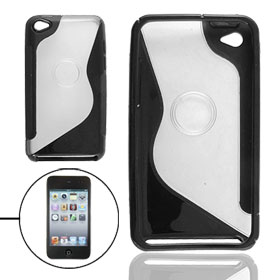 Black Clear Soft Plastic Back Case for iPod Touch 4
