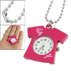 Woamn Black Arabic Number Fuchsia Shirt Design Pendant Necklace Qaurtz Watch