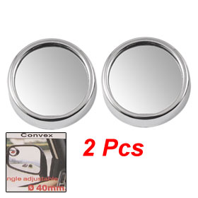 2 x Silver Tone Plastic Case Auto Car Wide Angle Rear View Blind Spot Mirror