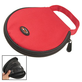 Red Nylon Hand Carry Zipper Round Holder Bag for 20 CD Discs