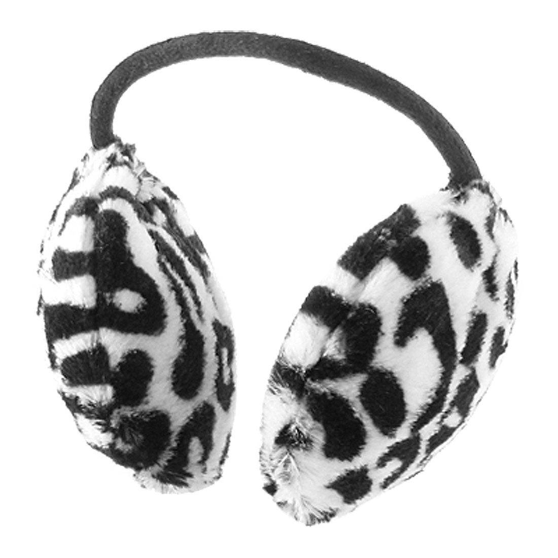 Woman Man Black White Metal Band Leopard Print Ear Muffs Warmer Earmuffs