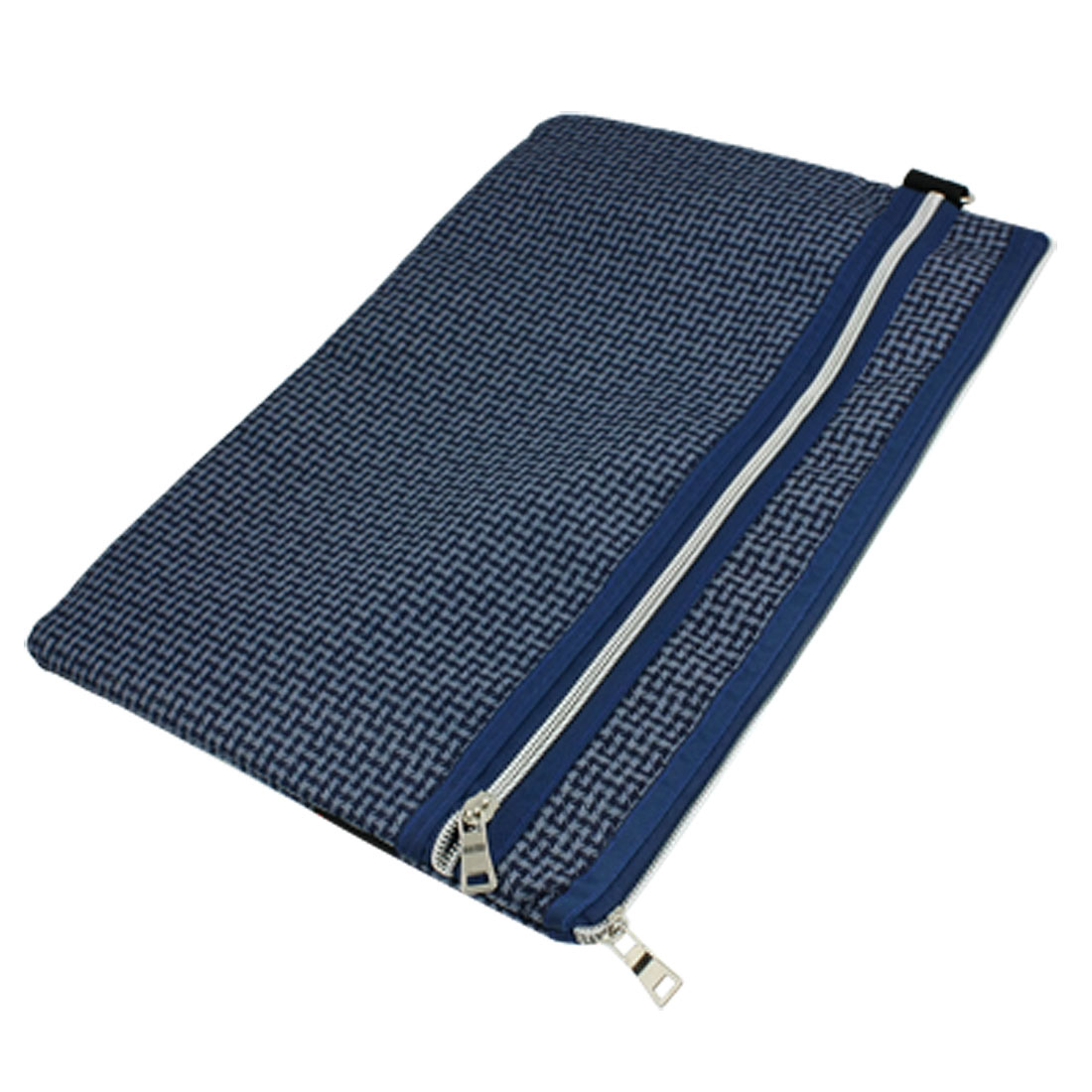 Zipper Closure Nylon Lining Blue Carrying File Bag Holder