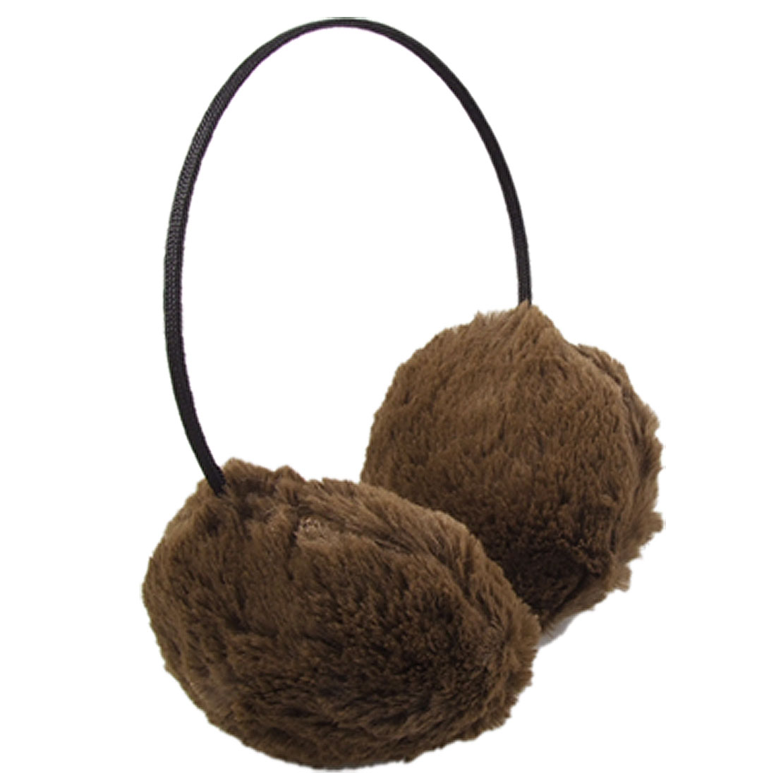 Fluffy Plush Adjustable Headband Earmuff Ear Warmer Coffee Color for Christmas