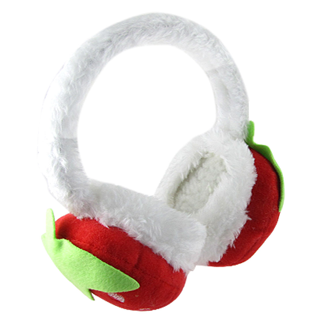 Red Strawberry Accent Pad White Plush Coated Frame Earmuff for Women