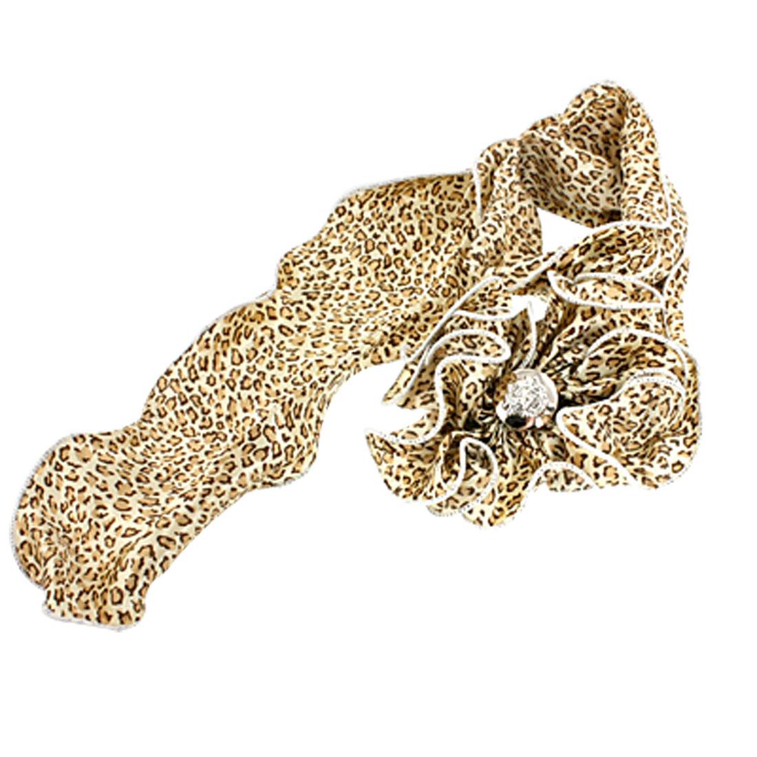Leopard Pattern Flower Knot Head Neck Wave Scarf Beige for Woman