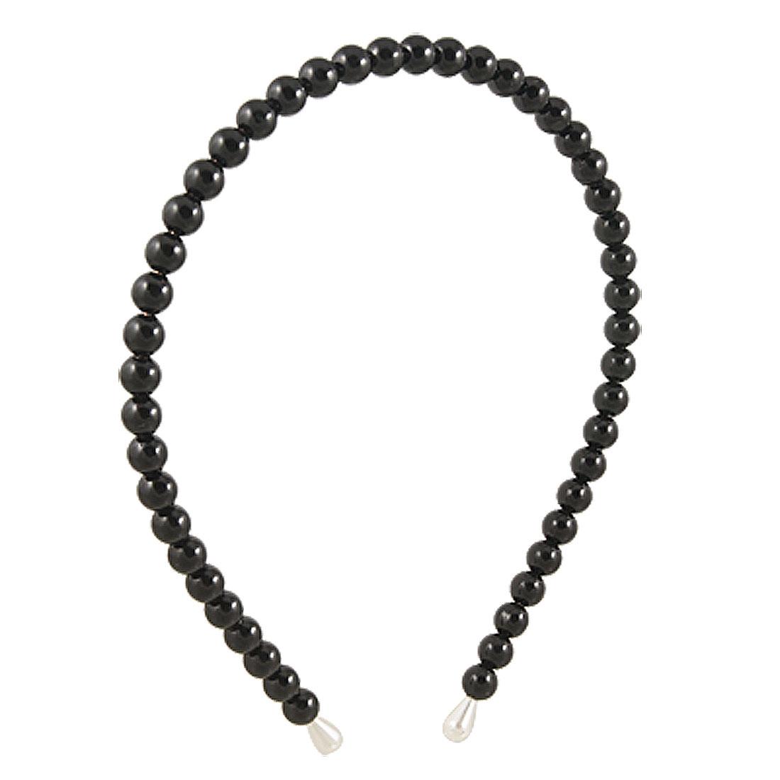 Black Plastic Faux Pearls Design Head Wear Hair Hoop for Girls