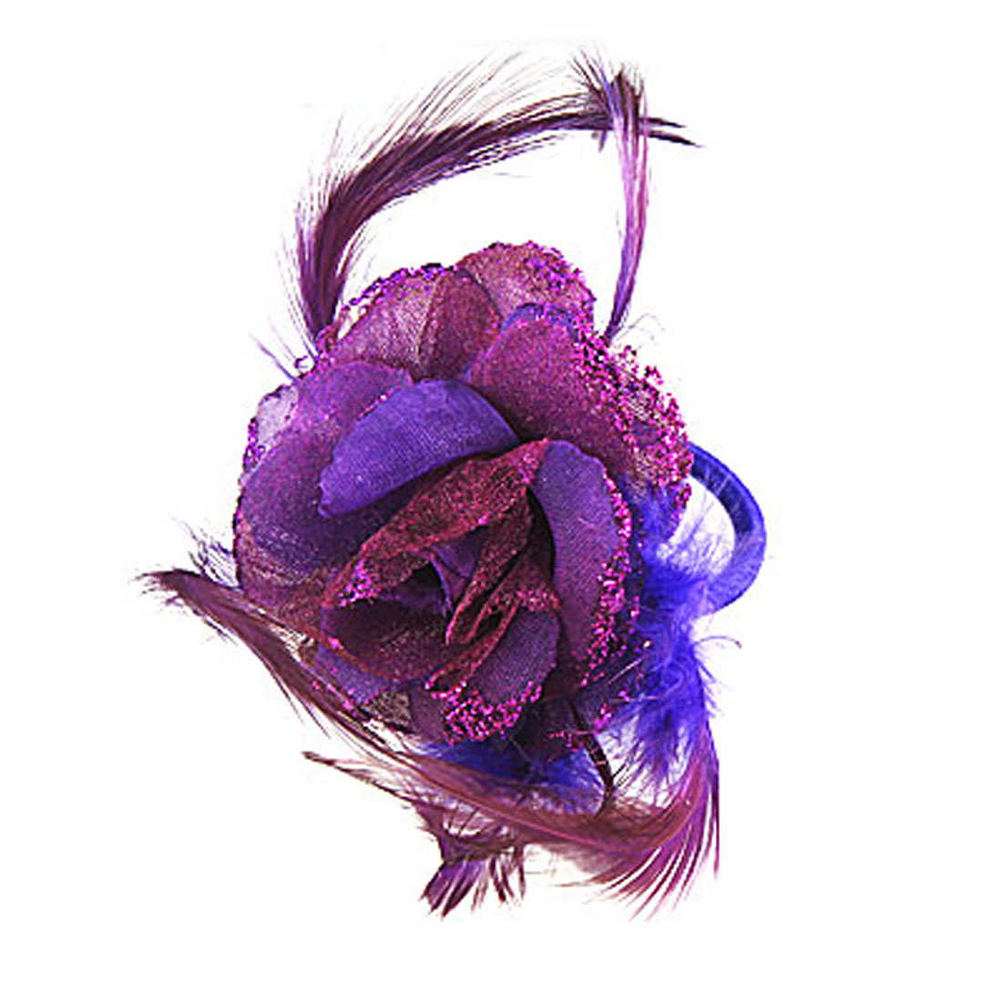 Purple Headwear Headdress Flower Decor Corsage Hair Clip Brooch