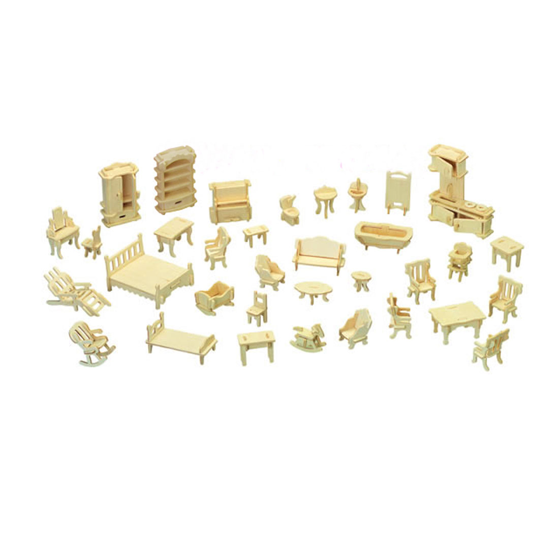 Assemble Furniture Model DIY Puzzle Wooden Construction Kit Gift