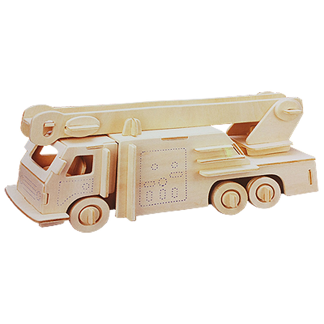 Child Wood Craft Fire Engine Model DIY Puzzle Wooden Assemble Toy
