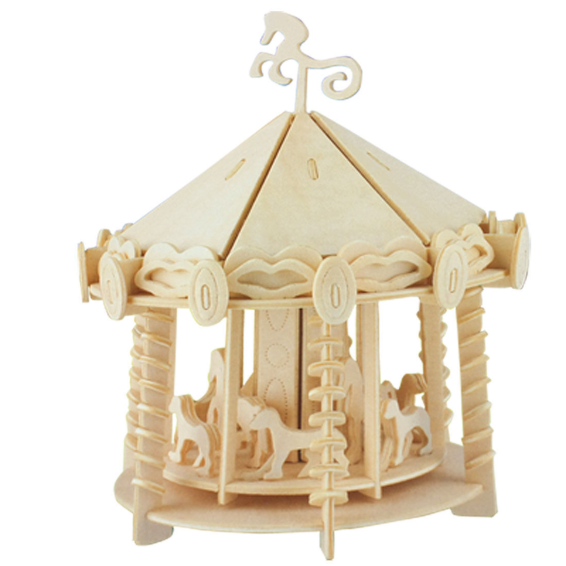 Carousel Model Puzzled 3D DIY Assemble Wooden Kit Gift for Child
