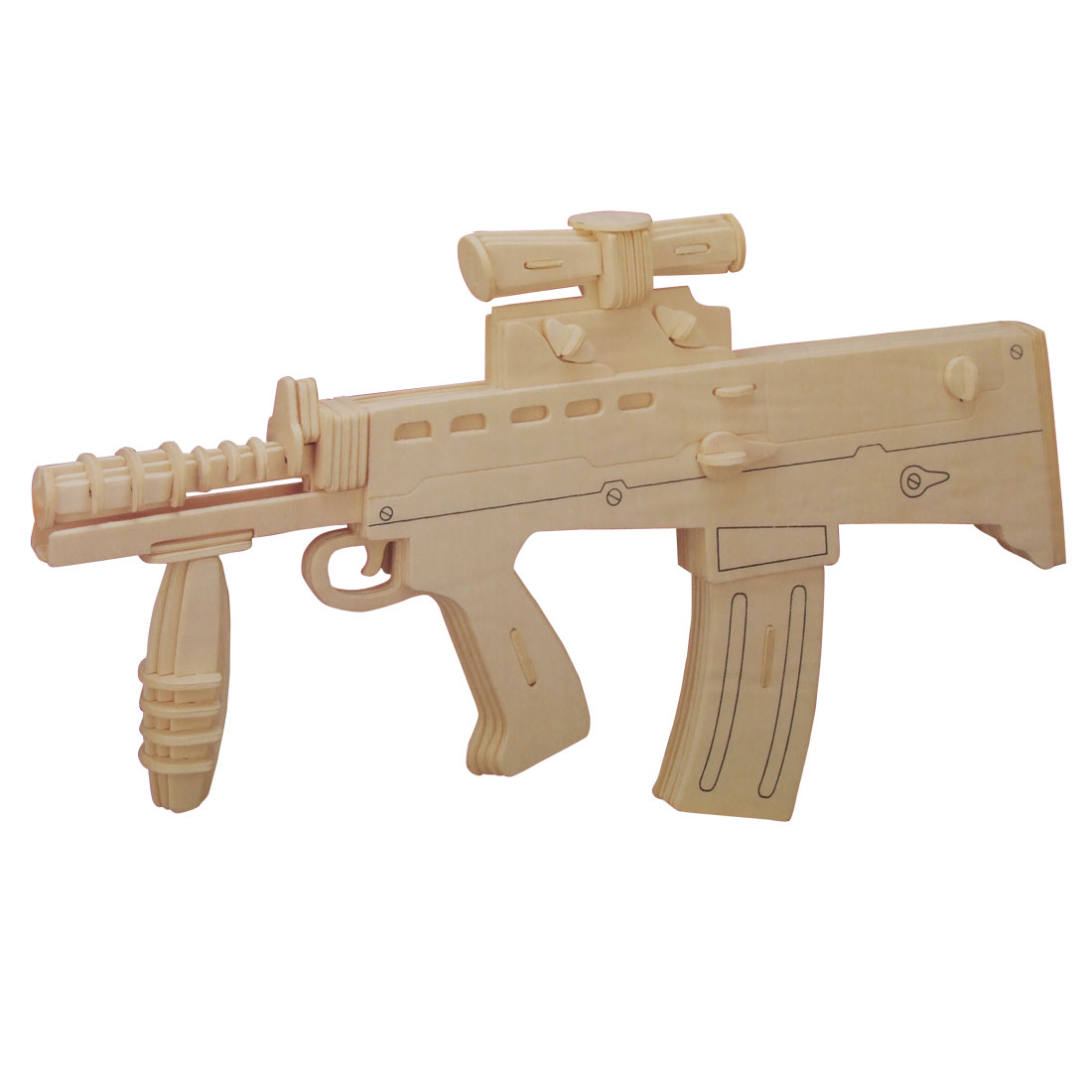 Children Carbine Model Wood Construction Kit DIY Puzzle Toy