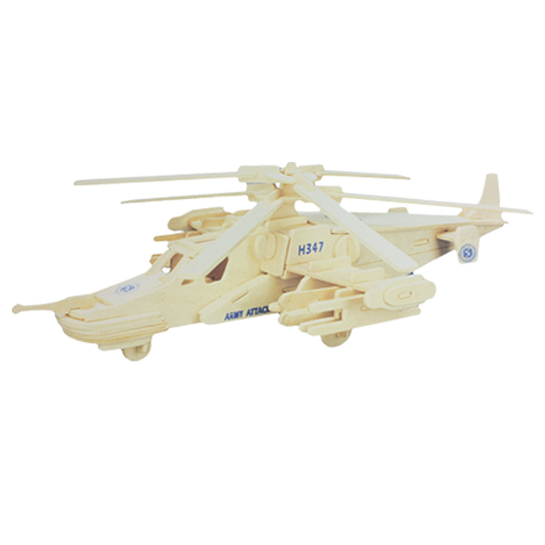 Black Shark Helicopter Woodcraft Construction Kit Wood Assemble Puzzle Toy