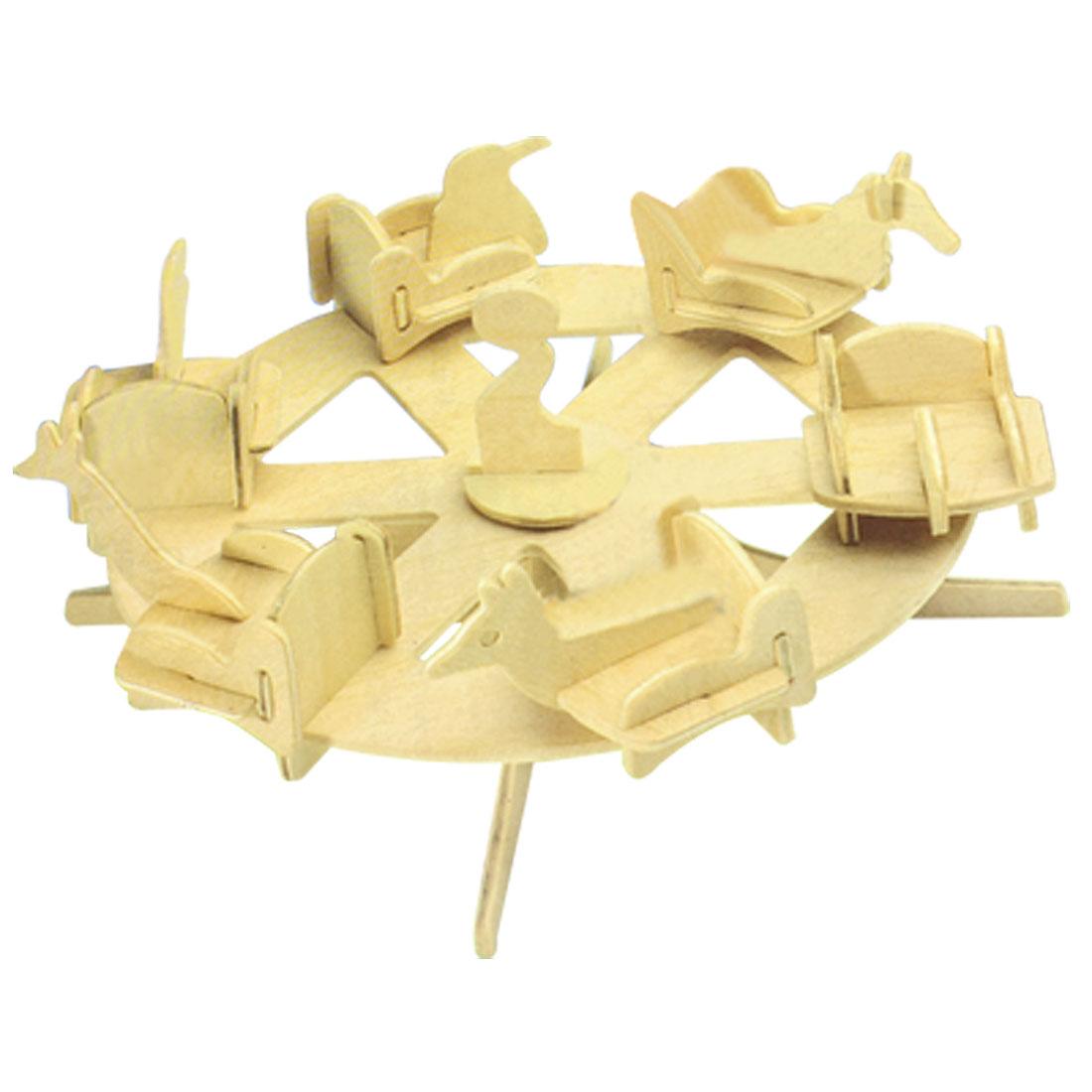 Child Wood Craft Assemble 3D Roundabout Model Construction Kit DIY Toy