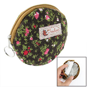 Women Ladies Dark Brown Floral Round Coin Purse Bag Pouch