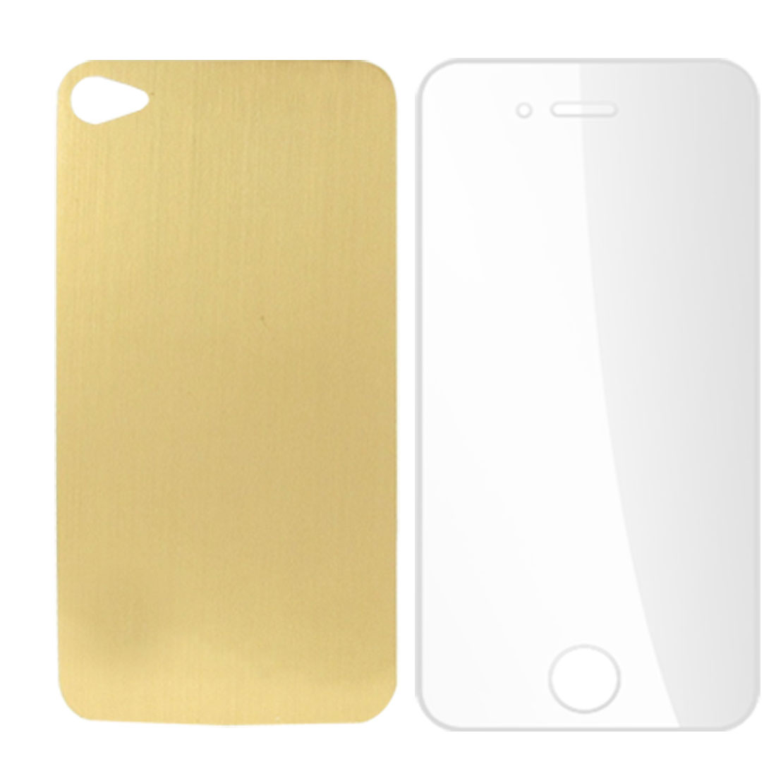 Gold Tone Back Clear Front Stickers Decals Cover for iPhone 4 4S