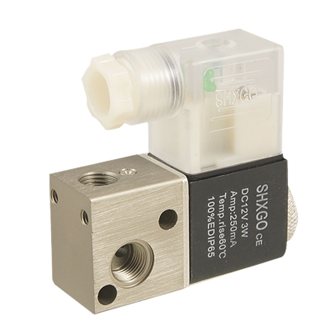 Thread Connect 2 Positions 3 Ways Pneumatic Air Solenoid Valve DC 12V 3W