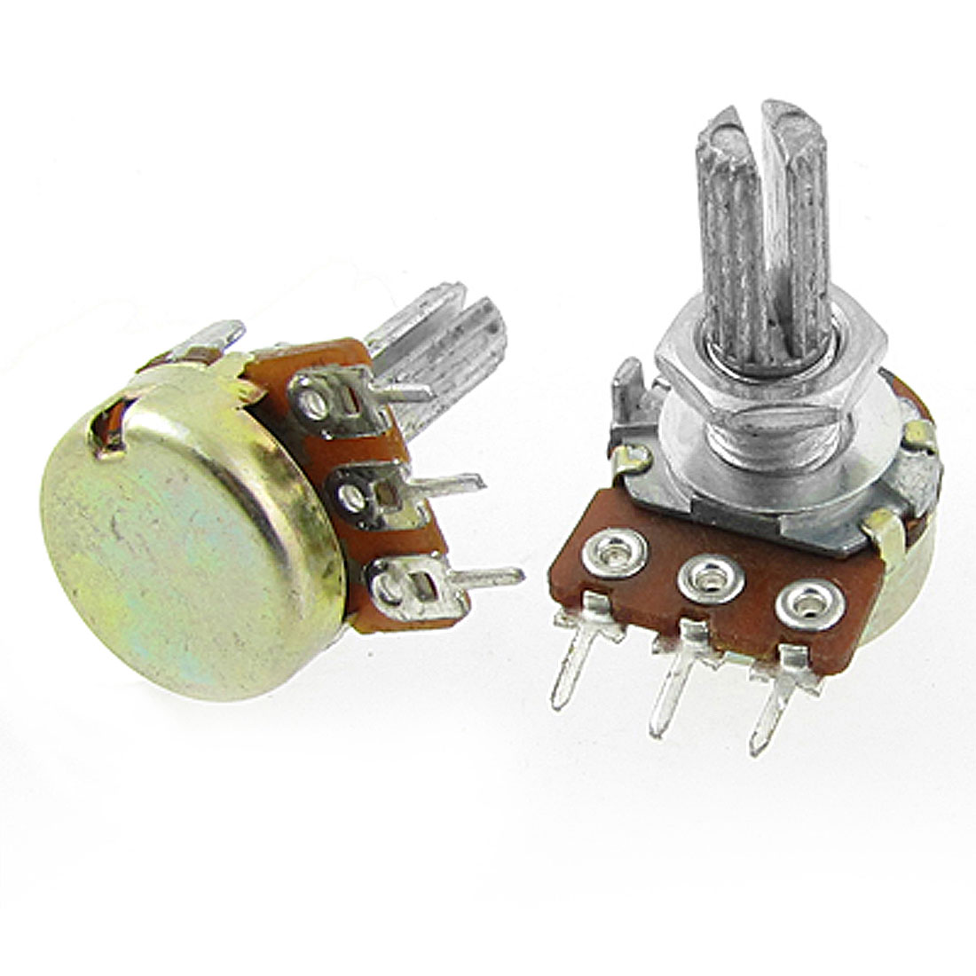 5 Pcs Silver Tone Metal Split Shaft Potentiometer 100K Ohm
