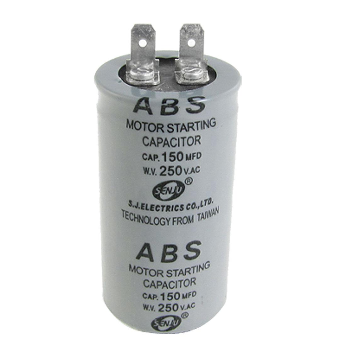 AC 250V 150MFD 150uF Capacitance Round Motor Starting Capacitor Gray