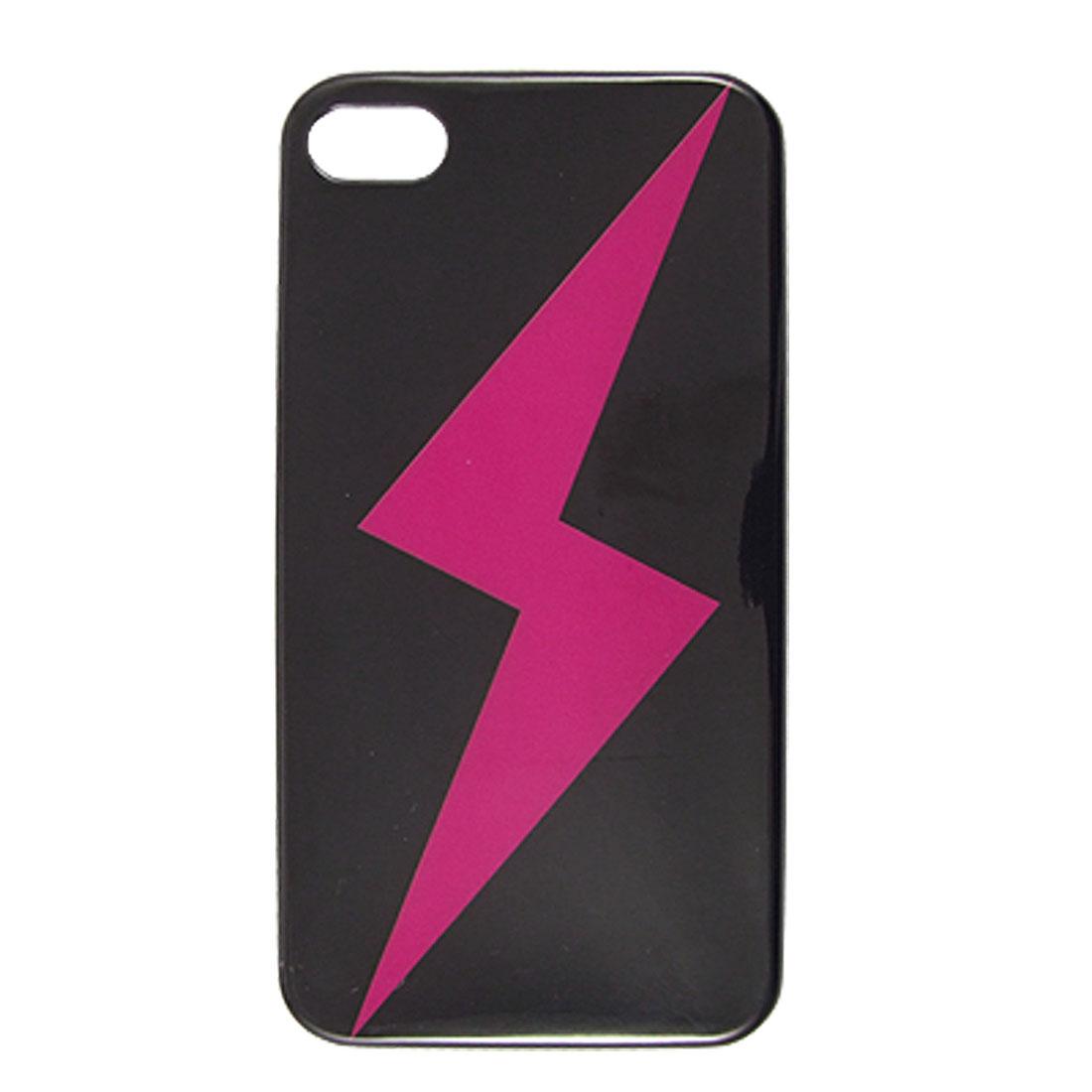 IMD Fuchsia Lightning Pattern Black Hard Plastic Back Case Cover for iPhone 4 4G