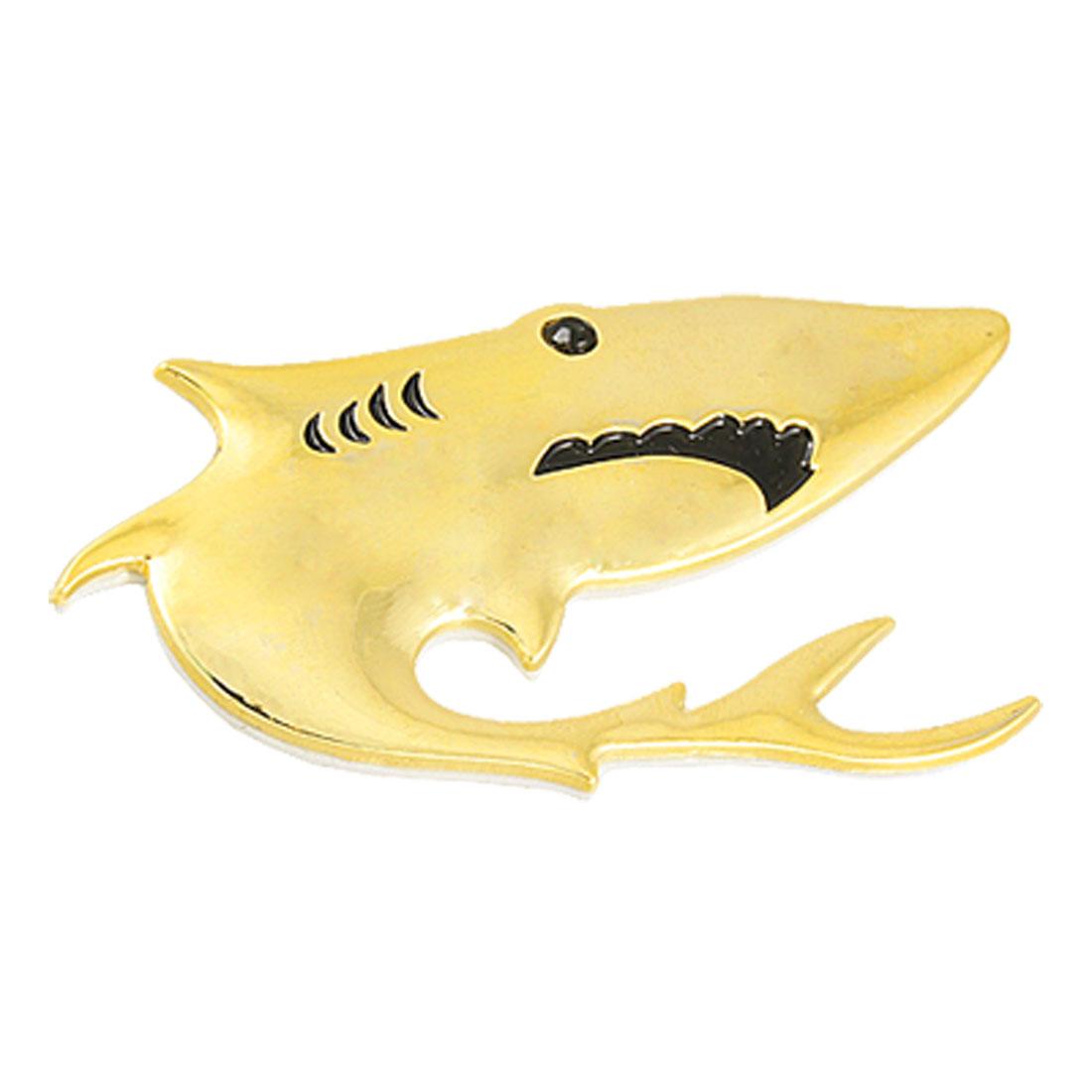 Car Vehicle Black Eye Shark Shaped Gold Tone Metal 3D Sticker
