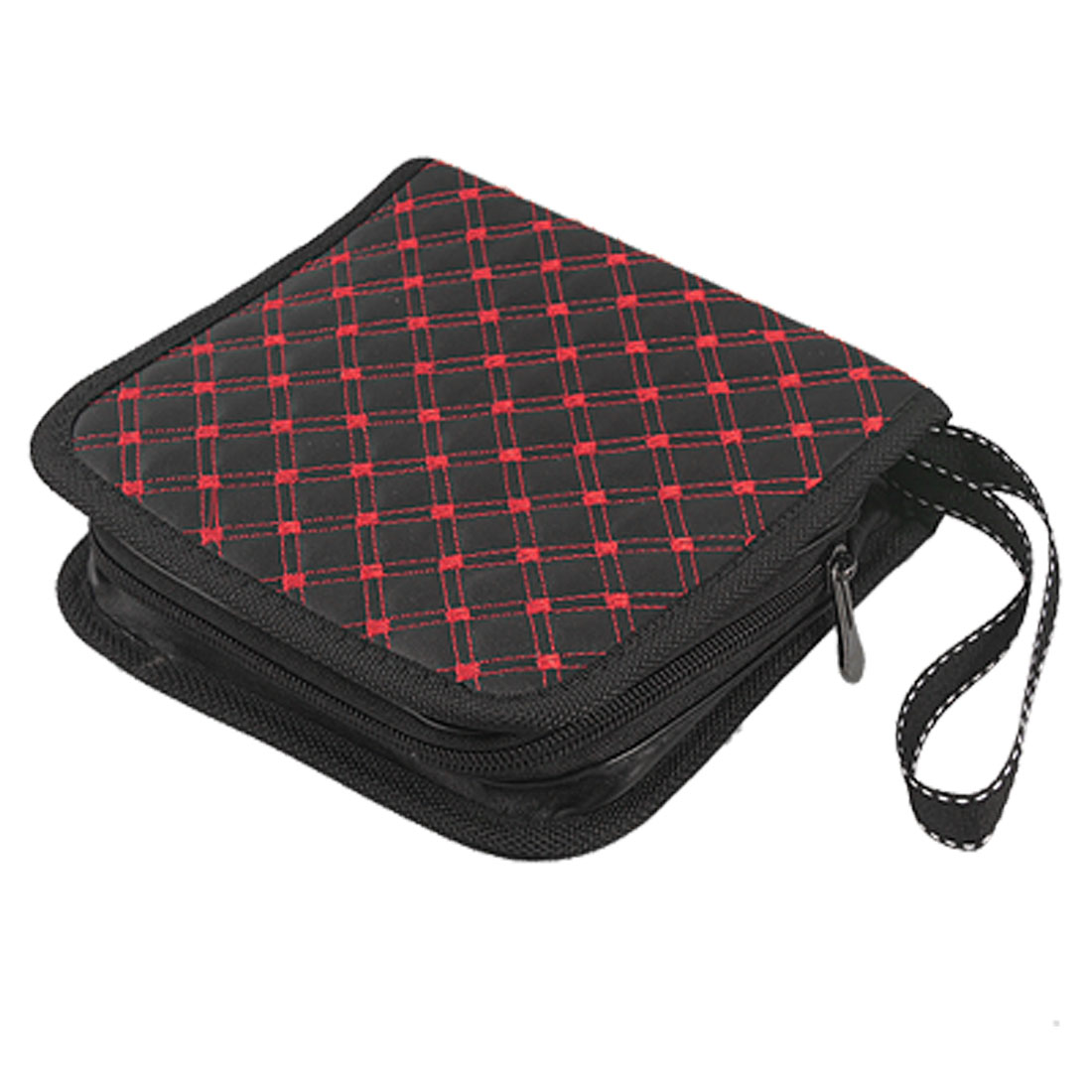 Red Line Seamed Rhombus Pattern Black Faux Leather 24 Pockets CD Holder Bag