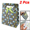 2 Pcs Hook and Loop Closure Argyle Pattern Gift Folding Paper Bag