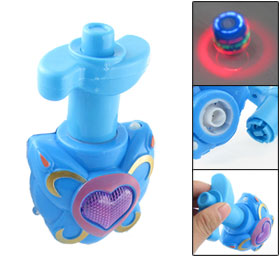 Kids Blue Plastic Housing Multi Color LED Flash Light Music Spinning Peg-top Gyro Toy