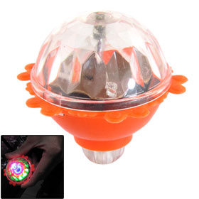 Children Orange Red Plastic Shell Flashing RGB LED Lights Spinning Top Gyro Toy for Halloween