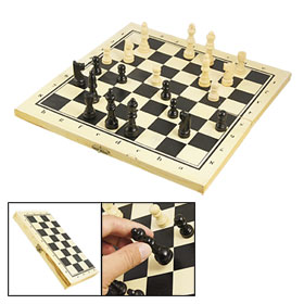 Wooden Foldable Chessboard International Chess Set Black Yellow