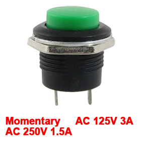 Green Momentary Normal Off-(On) N/O Car Boat Push Switch AC 125V/6A 250V/3A