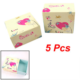 5 Pcs Chinese Character Flower Pattern Jewelry Bracelet Mini Gift Boxes Beige Blue