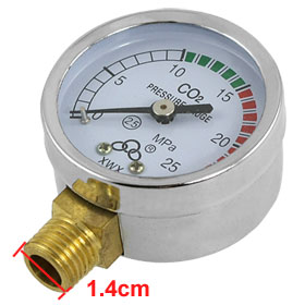0-25 MPa 2.5 Accuracy Class Carbon Dioxide Pressure Gauge Regulator