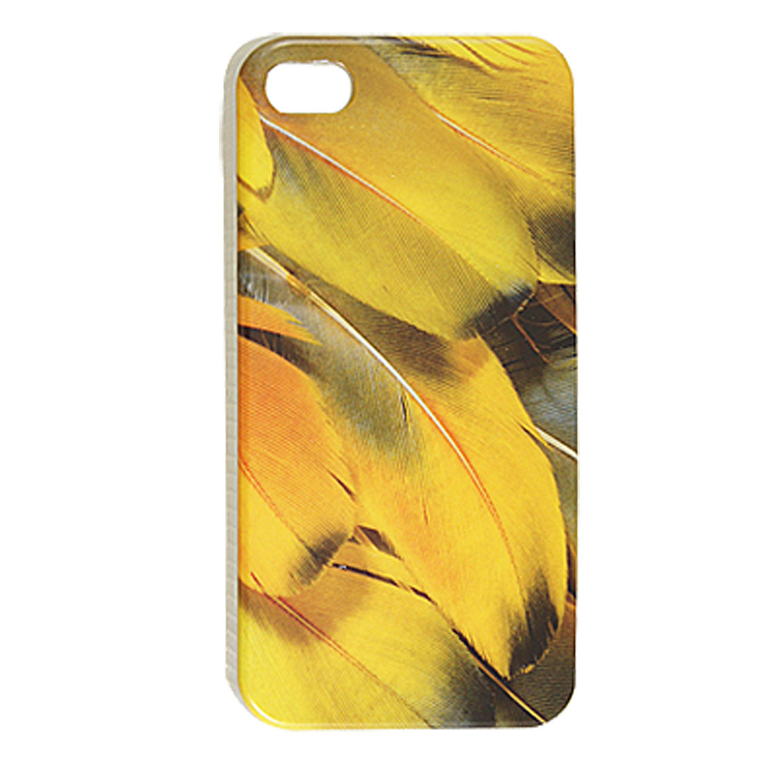 Yellow Feathers Patterns Hard Plastic Back Shell for iPhone 4 4G 4S