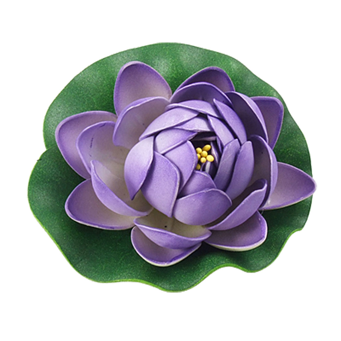 "4"" Dia Emulational Lotus Flower Floating Foam Plant Decor Purple Green for Aquarium"