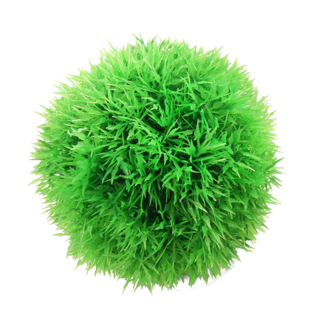 "4 7/10"" Diameter Green Plastic Moss Marimo Ball Decoration w Ceramic Base for Fish Tank"