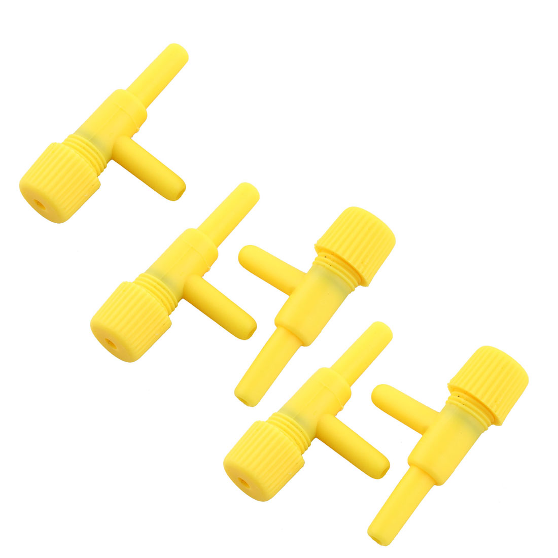 Plastic Yellow Aquarium Pump Air Valves Splitter Tube Connector 5 Pcs