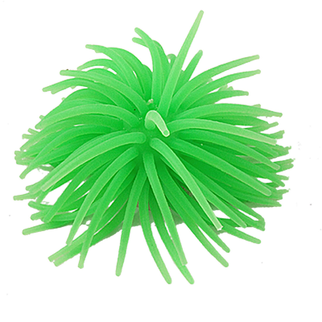 Ceramic Base Silicone Manmade Coral Green Ornament for Fish Tank